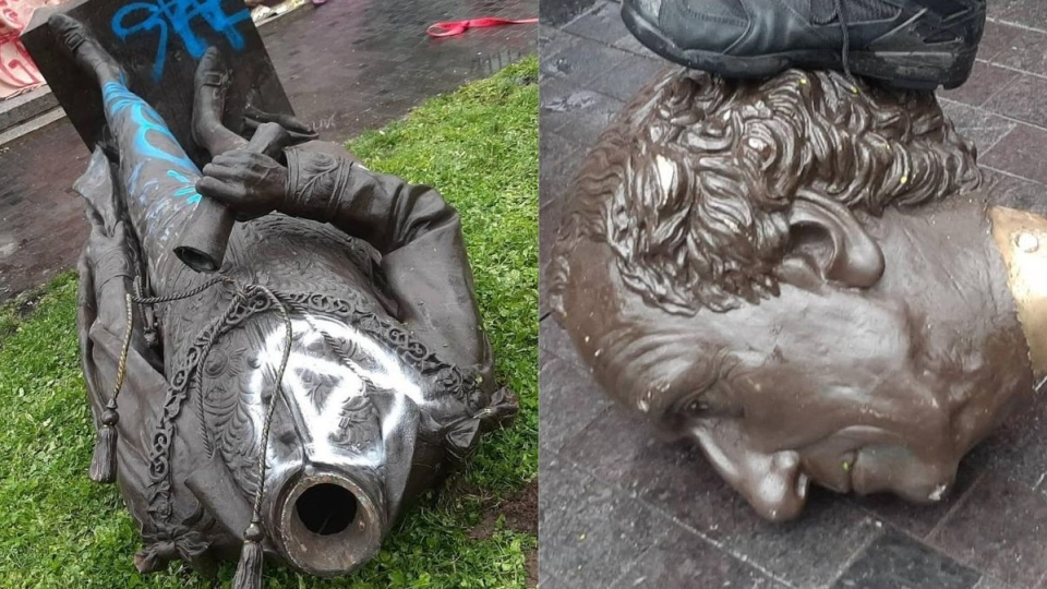 Sir John A MacDonald Statue toppled