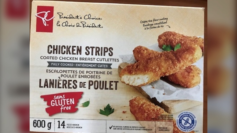 One batch of President's Choice frozen chicken strips labelled as being gluten-free may actually contain gluten, according to the Canadian Food Inspection Agency.