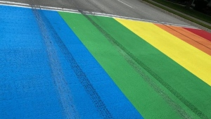 Tire marks are seen on the rainbow crosswalk in Port Elgin, Ont. on Aug. 29, 2020. (Source: Saugeen Shores Police Service)