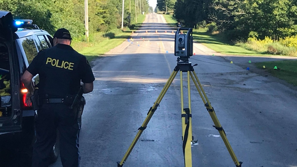 OPP investigate a fatal crash on Prospect Hill Road at 8 Mile Road on Monday, Aug. 31, 2020. (Sean Irvine / CTV London)