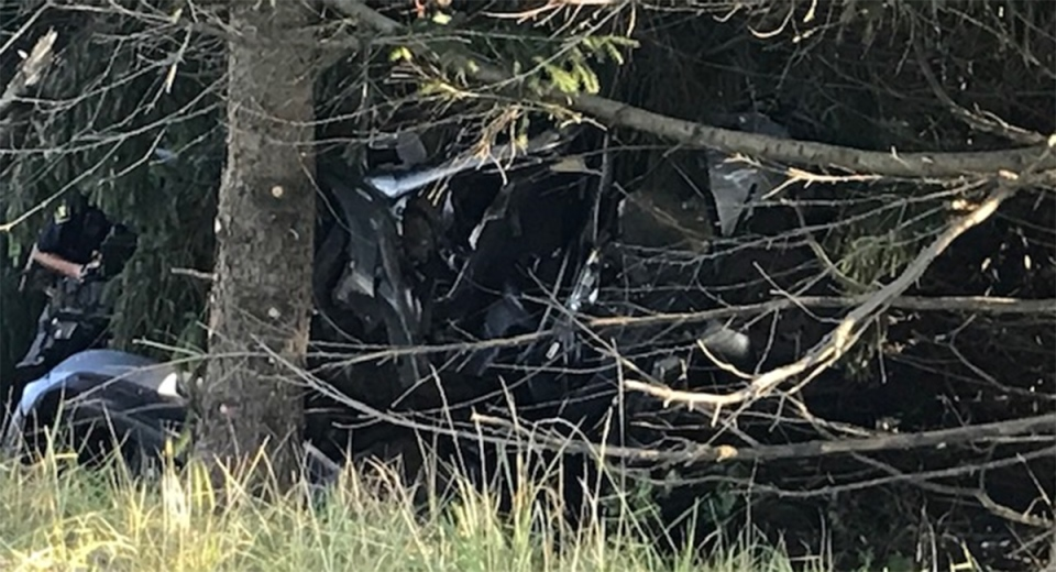 A vehicle rests among the trees after a fatal crash north of London, Ont. on Monday, Aug. 31, 2020. (Sean Irvine / CTV News)