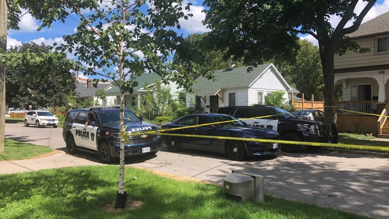 Sarnia police were asking the public to avoid the area of College Avenue North between Lochiel Street and Cromwell Street as they canvass the area on Monday, Aug. 31, 2020 following a deadly assault. (Jordyn  Read / CTV London)