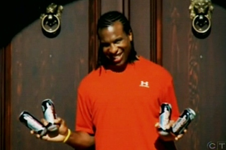 Montreal Canadien Georges Laraque appears in an online ad promoting an alcoholic energy drink.