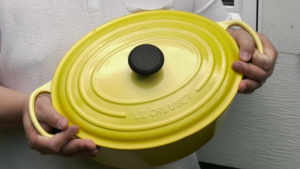 Eric Pau's Le Creuset developed hairline cracks.