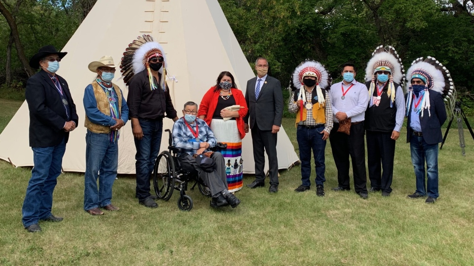 The Lieutenant Governor of Saskatchewan and the Office of the Treaty Commissioner symbolically give back replica Treaty 6 medals to leaders of Beardy's and Okemasis First Nation. (Dan Shingoose/CTV Saskatoon)