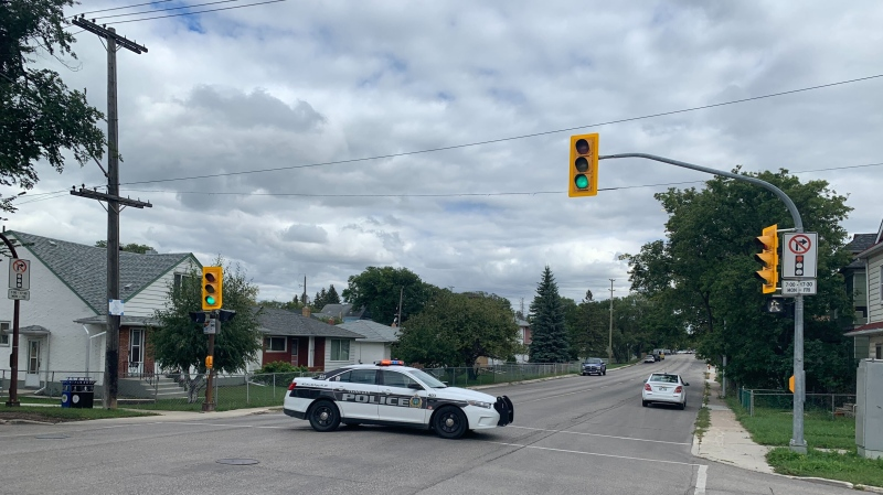Around 4 p.m. on Monday, police were seen responding to an incident on Johnson Avenue West. (source: Scott Andersson/ CTV News Winnipeg)