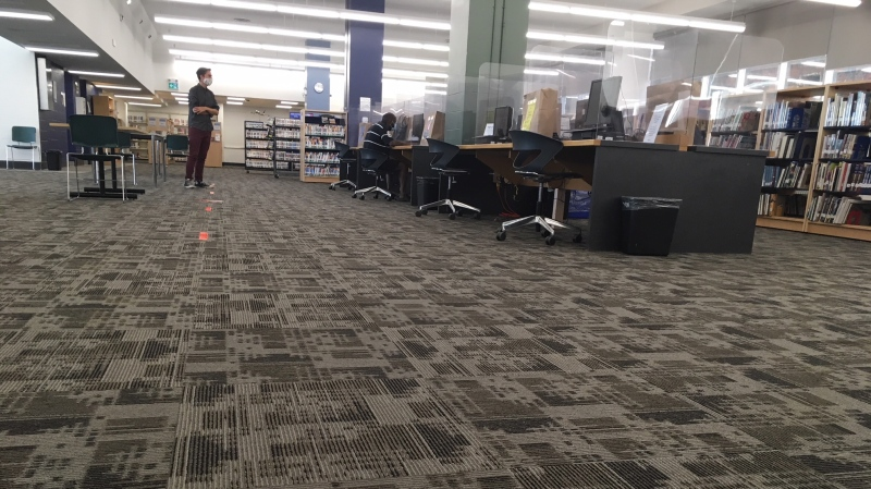 Windsor Public Library reopening three branches with new COVID-19 safety measures in place in Windsor, Ont. on Monday, Aug. 31. (Chris Campbell/CTV News)