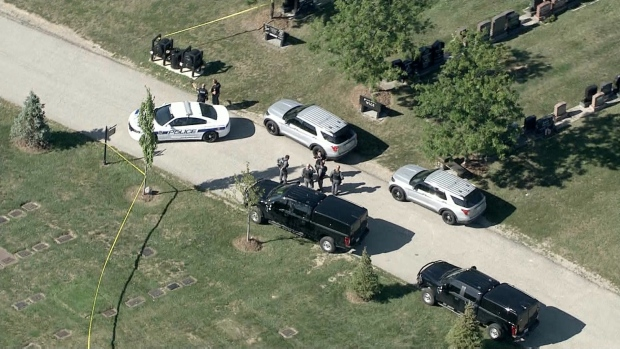 Police respond to a shooting at a cemetery in the area of Bovaird Drive and Chinguacousy Road in Brampton Monday August 31, 2020.