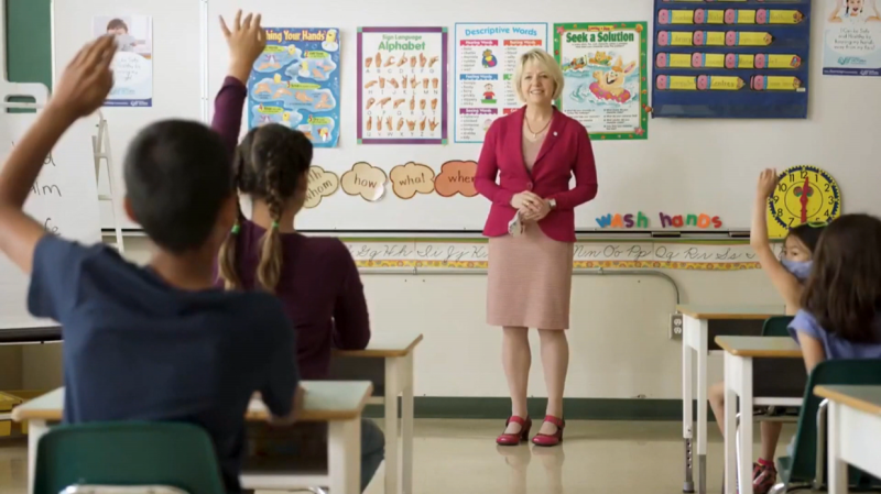 B.C. provincial health officer Dr. Bonnie Henry is seen in an ad promoting the government's back-to-school plan.