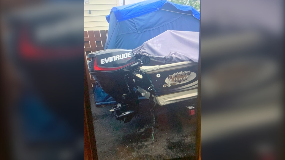 Photo of Evinrude boat motor that was stolen