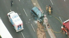 The scene of a deadly crash on Kennedy Road is seen in this image taken from helicopter video.