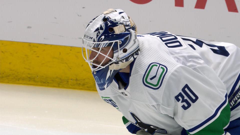 Vancouver Canucks goaltender Louis Domingue