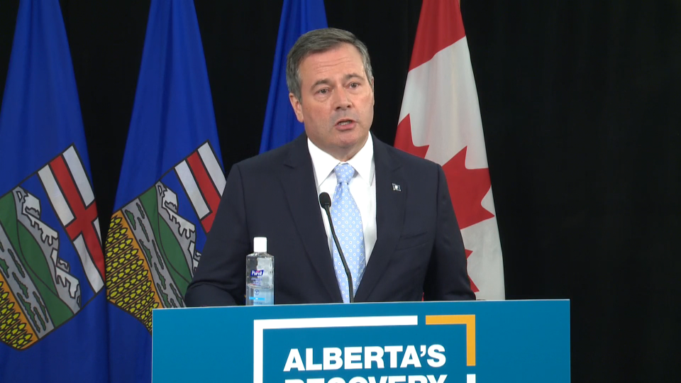 Premier Jason Kenney, speaking at a media availability on Sept. 1, 2020, called it unrealistic to reopen schools with restricted class sizes and inevitable that there would be COVID-19 cases among students.