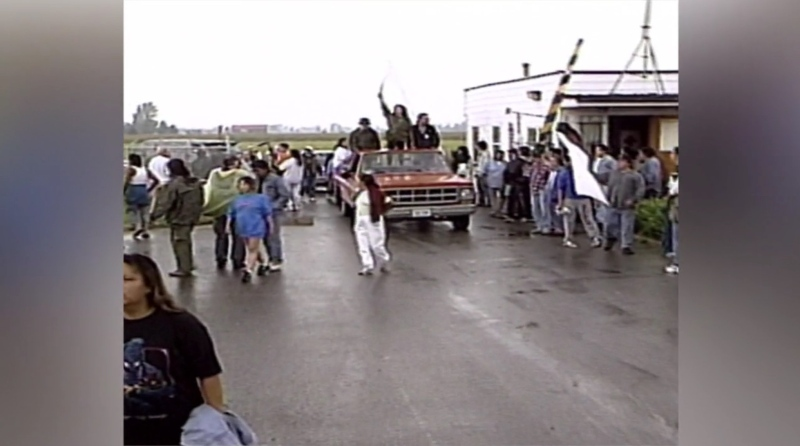 Protests are held at Camp Ipperwash in 1995.