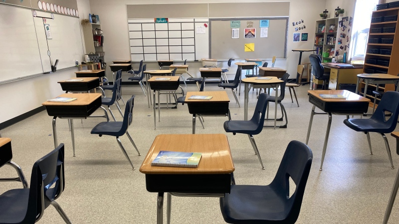 Desks are ready for class at Regina's St. Gregory School, one week before school is set to begin in the fall of 2020. (Morgan Campbell/CTV News)