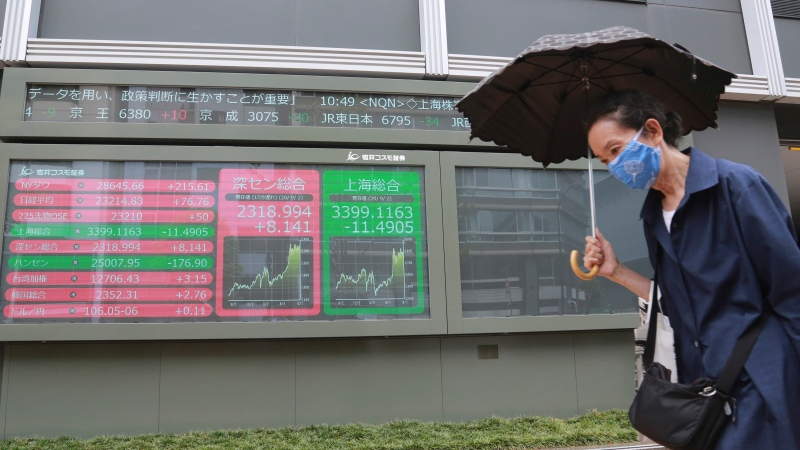 A woman walks by an electronic stock board of a securities firm in Tokyo, Wednesday, Sept. 2, 2020. (AP Photo/Koji Sasahara)