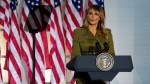First lady Melania Trump speaks on the second night of the Republican National Convention from the Rose Garden of the White House, Tuesday, Aug. 25, 2020, in Washington. (AP Photo/Evan Vucci)