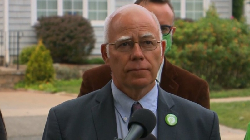 New Brunswick Green Leader David Coon campaigns in Fredericton on Sept. 2, 2020.