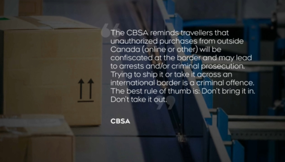 The CBSA, in a statement, warns against shipping cannabis over the border.
