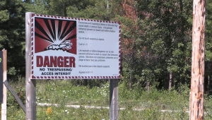 A sign warns of explosives at the former Camp Ipperwash.