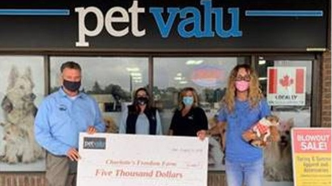 Pet Valu donation to Charlotte's Freedom Farm in Chatham, Ont. (Courtesy Pet Valu)
