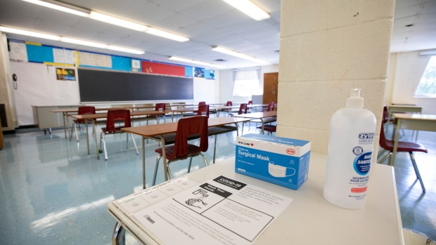 A physically distanced classroom with masks and hand sanitizer is seen at Kensington Community School amidst the COVID-19 pandemic on Tuesday, September 1, 2020. THE CANADIAN PRESS/Carlos Osorio