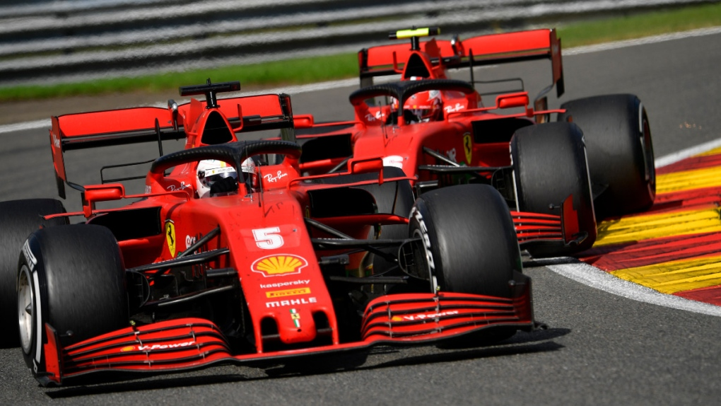 Ferrari at the Spa-Francorchamps racetrack