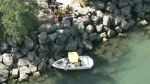 A boat crash in Toronto on Sept. 3, 2020 left one person dead. (CTV News Toronto Chopper)