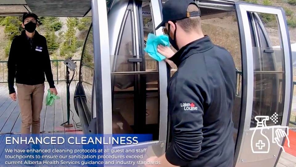 Lake Louise Ski Resort employees demonstrate some of the sanitizing practices that will be used when the hill opens in the fall of 2020 (Lake Louise)
