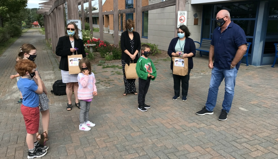 On Thursday, the Smilezone Foundation made a 'mask' commitment to groups in both Sudbury and North Bay. (Ian Campbell/CTV News)