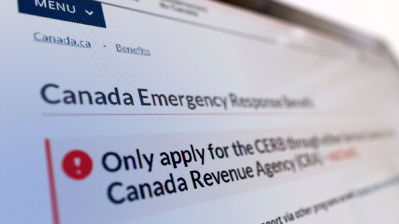 The website to apply for the Canada Emergency Response Benefit (CERB) is seen in this undated file image.