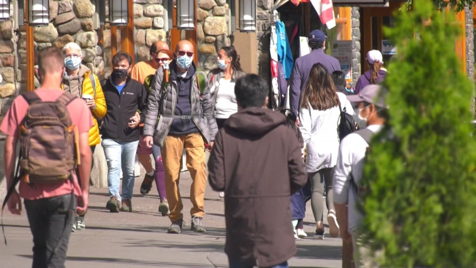 Banff, masks, visitors