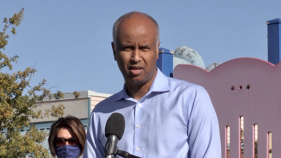 Federal Minister of Families, Children and Social Development Ahmed Hussen speaks in London, Ont. on Friday, Sept. 4, 2020. (Jim Knight / CTV News)
