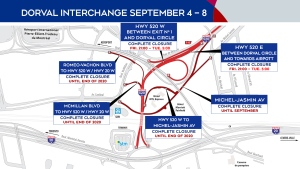 Dorval interchange closures Sept. 4-8