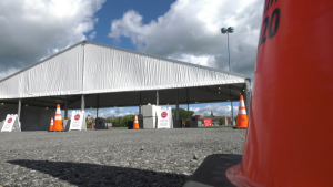 The COVID-19 drive-thru testing centre at RCGT Park in Ottawa on Sept. 4, 2020.