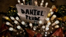 A makeshift memorial is seen, Wednesday, Sept. 2, 2020, in Rochester, N.Y., near the site where Daniel Prude was restrained by police officers. (AP Photo/Adrian Kraus)