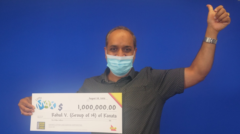 Lottery winner Rahul Vohra, of Kanata, represents a group of 14 Ottawa-area scientists who won a Max Millions draw on a group ticket in February. (Photo provided by OLG)