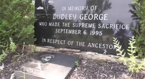 A memorial to Dudley George, an unarmed protester shot and killed at Camp Ipperwash, Ont. in Sept. 1995, is seen in Sept. 2020.