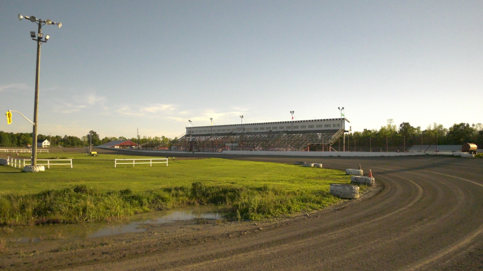 The Brockville Ontario Speedway grandstand from corner 4. (Nate Vandermeer / CTV News Ottawa)