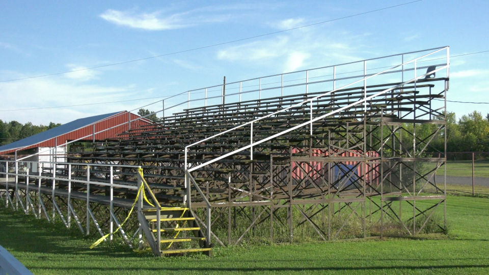 An empty grandstand at the Brockville Ontario Speedway. (Nate Vandermeer / CTV News Ottawa)