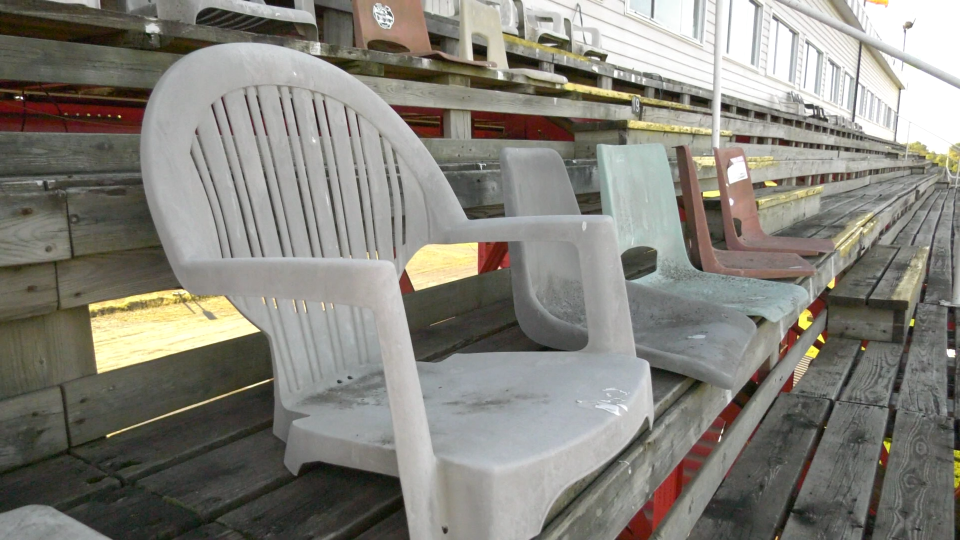 Reserved seats in the grandstand of the Brockville Ontario Speedway. (Nate Vandermeer / CTV News Ottawa)