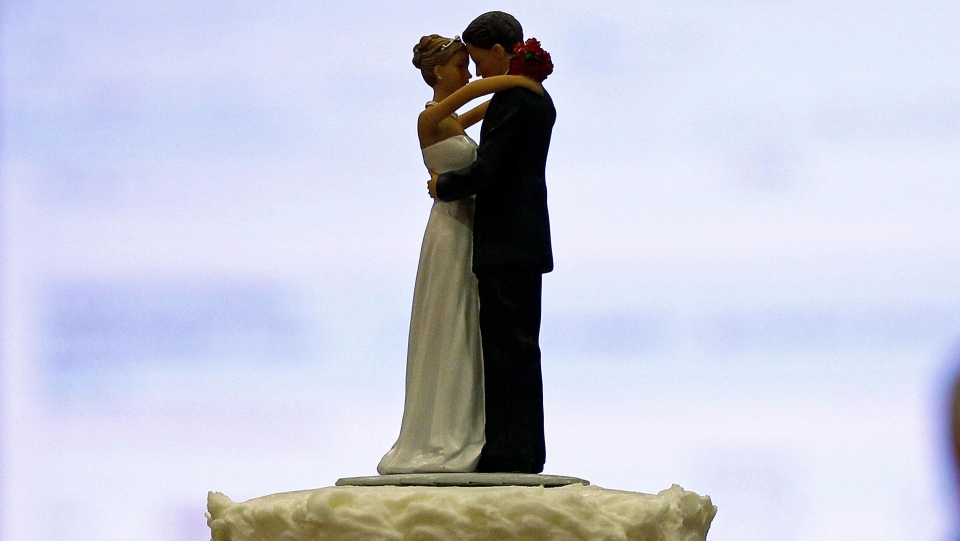 A wedding cake is shown in Raleigh, N.C., Tuesday, May 8, 2012. THE CANADIAN PRESS/AP/Gerry Broome