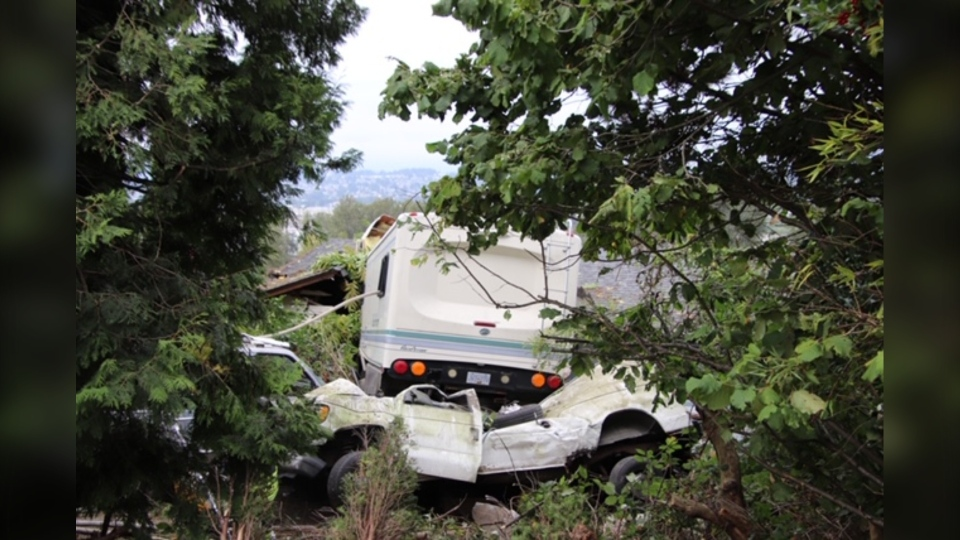 A motorhome crashed into a house in Surrey, B.C. on Sept. 5, 2020.