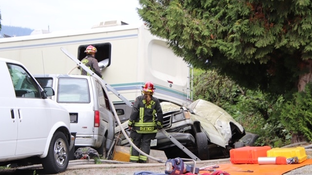 Surrey Fire Service battalion chief Spiro Pegios told CTV News the driver of the RV was initially unable to get out and required assistance from fire crews to exit the vehicle. She was taken to hospital with injuries that were believed to be minor, he said.