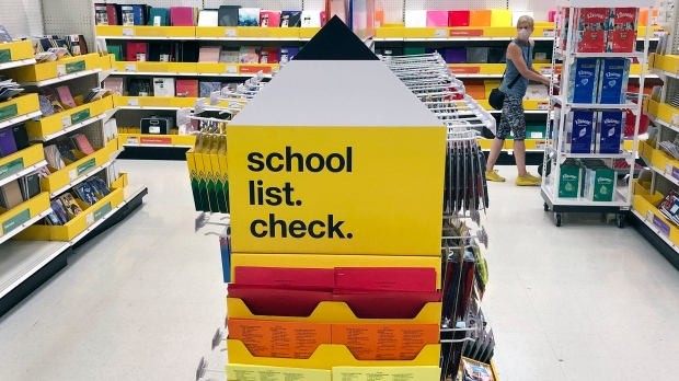 Back-to-school supplies await shoppers at a store on Saturday, July 11, 2020, in Marlborough, Mass. (AP Photo/Bill Sikes, File)