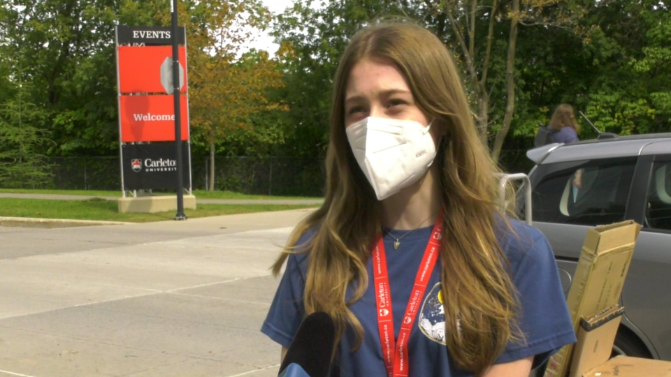 Amlie Haefele says she's excited to start her four-year adventure at Carleton University, but disappointed that COVID-19 has dampened some first-year fun. (Shaun Vardon / CTV News Ottawa)