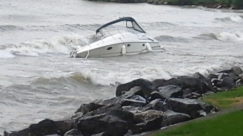 Three people survived after a boat capsized in Lake Erie near Kingsville, Ont. on Monday, Sept. 7, 2020. (Source: Judith Miller)