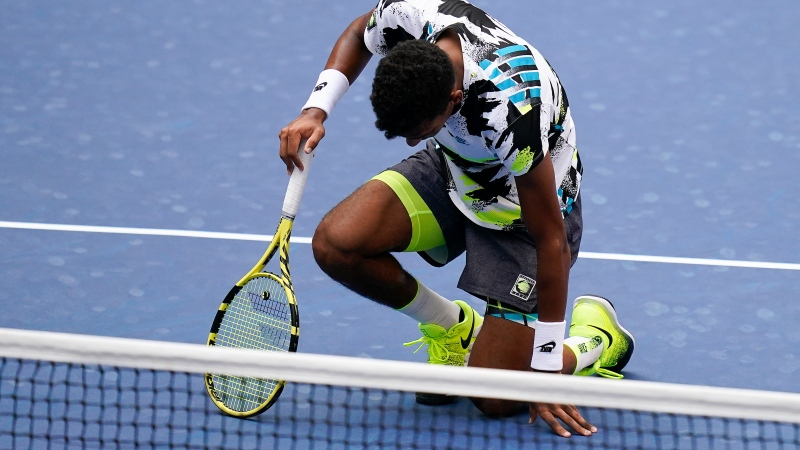 FILE PHOTO: Felix Auger-Aliassime during the fourth round of the US Open tennis championships, Monday, Sept. 7, 2020 (AP Photo/Seth Wenig)