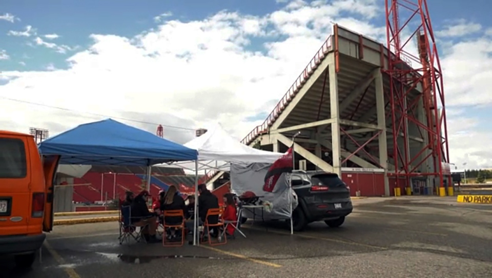 A group of die-hard Stamps fans gathered Monday in the parking lot of McMahon Stadium, to tailgate in memory of the Labour Day Classic, which wasn't played this year.