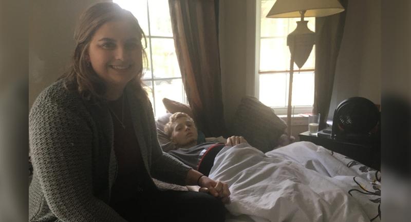 Emily Raes-Caspi and her husband Jace Caspi spend time together in London, Ont. on Sunday, Sept. 6, 2020. (Brent Lale / CTV News)